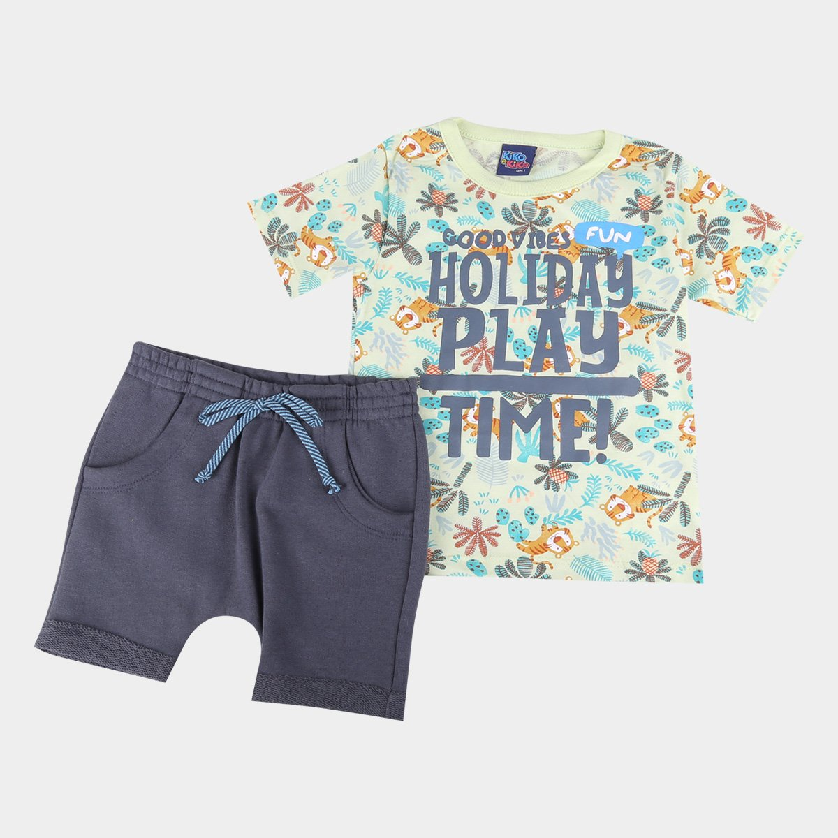 Conjunto Bebê Kiko & Kika Camiseta + Bermuda Moletom Masculino