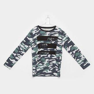 717576df7ab64 Camiseta Infantil Milon Manga Longa Camuflado Masculina