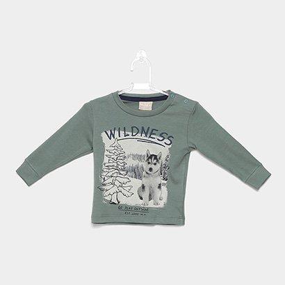 Camiseta Infantil Milon Manga Longa Estampa Lobo