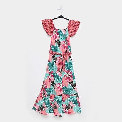 Vestido Infantil Nanai Floral Com Cinto