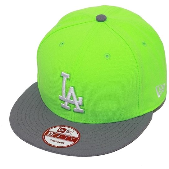 ce99f556acc06 Boné New Era Aba Reta Snapback Mlb Los Angeles 2Tone League - Verde ...