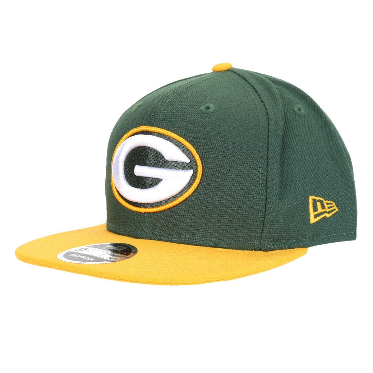 Boné New Era NFL Green Bay Packers Aba Reta Snapback 950 Of Sn Team Color