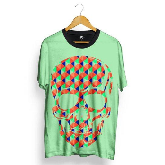 Camiseta BSC Skull Geometric Colors Total Full Print - Verde ... e91c6a98947