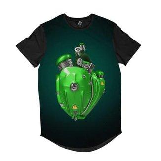 Camiseta Longline BSC Coração de Máquina Motor Sublimada Masculina eabb26dcaef