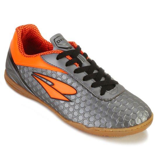 8027031ada Chuteira Futsal Dray DR18-366CO Masculina - Chumbo e Laranja