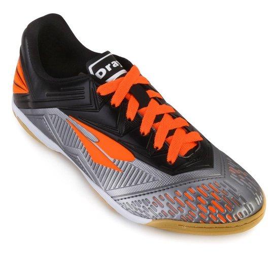 f2b06fd9b7 Chuteira Futsal Dray - Chumbo e Laranja
