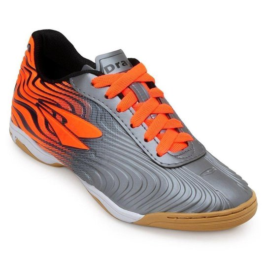 bb58dc1de8 Chuteira Futsal Dray TopFly X2 - Chumbo e Laranja