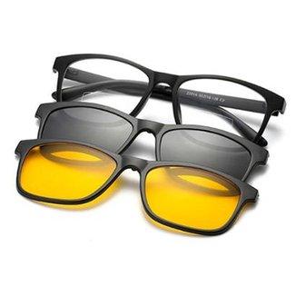 23ac39412 Armação Óculos + 2 Clip On 3 Em 1 Grau Sol E Estojo Com Imã All