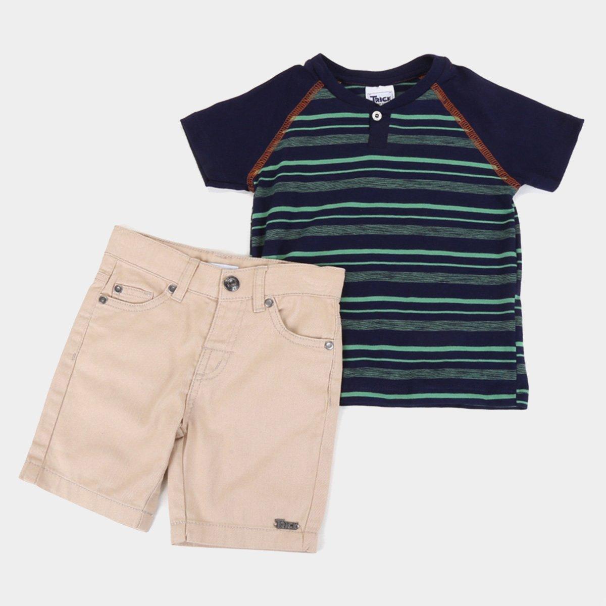 Conjunto Bebê Trick Nick Camiseta Flamê + Bermuda Sarja Masculino