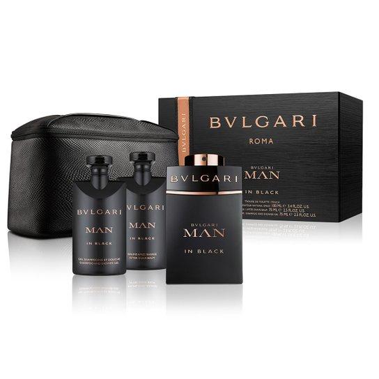 5cd83ea90b4cd Bvlgari Kit Perfume Masculino Man In Black 100ml + Gel de Banho 75ml + Pós  Barba