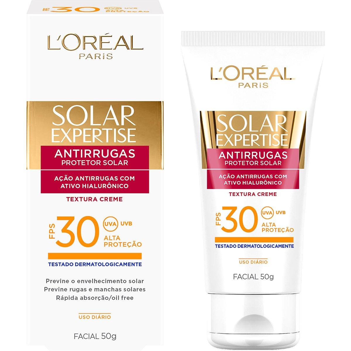 Protetor Facial L'Oréal Paris Solar Expertise Antirrugas FPS 30 50g