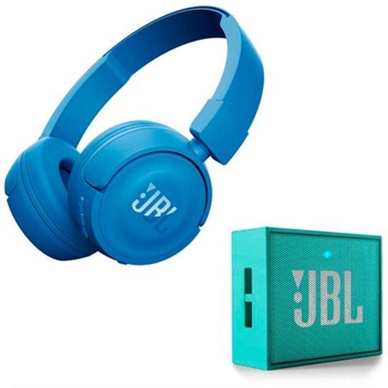 d6509c610c2 Kit JBL Fone de Ouvido Bluetooth T450BT + Caixa Bluetooth GO - Verde