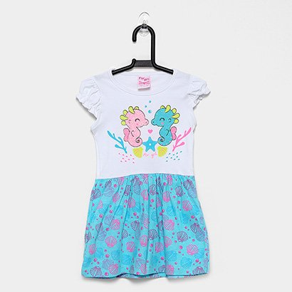Vestido Infantil For Girl Silk Cavalos Marinho Bicolor