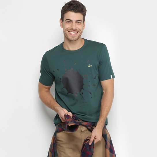 9fa962cec9b Camiseta Lacoste Live Tinta Masculina - Verde - Compre Agora