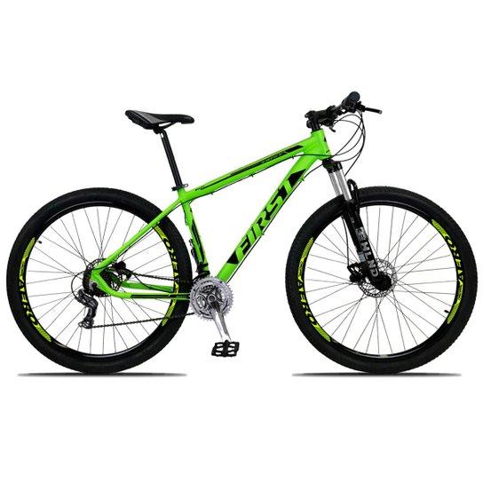 61fd2d8f12ce4 Bicicleta Aro 29 First Smitt 24v Câmbio Shimano Freio Hidráulico Susp com  Trava - Verde+