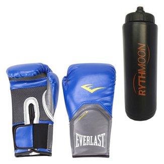 Kit Luva Boxe Elite Pro Style Everlast Azul 14Oz + 3178b37a60af2