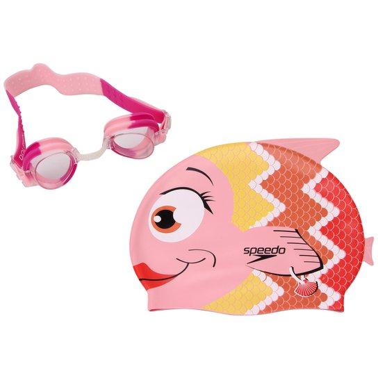 Kit Óculos + Touca Fish Combo - Speedo - Rosa e Vermelho - Compre ... 88d9ae9608e32