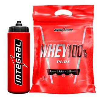 Kit Whey Protein 100% Super Pure 1,8 Kg + Squeeze  IntegralMédica