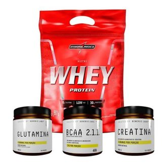 95b38d842 Kit Creatina + Glutamina + Bcaa + 100% Whey (907G - Refil) Integralmédica