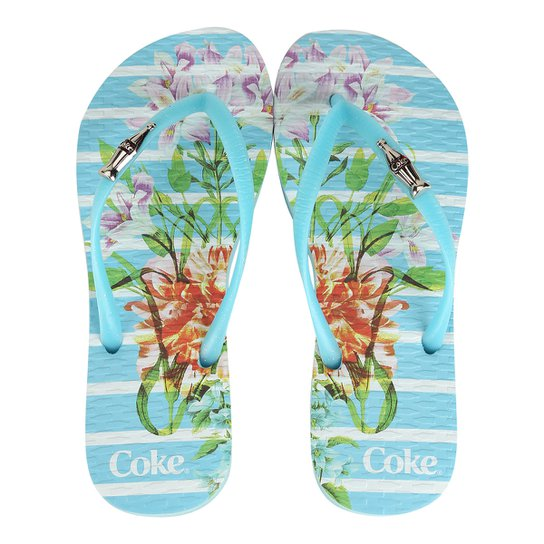 92b3a532a Chinelo Coca-Cola Bloom Stripes Feminino - Azul Claro