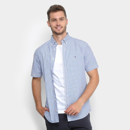 Camisa Tommy Hilfiger Manga Curta Listrada Regular Fit Masculina - Azul  Claro 4597d759d9600