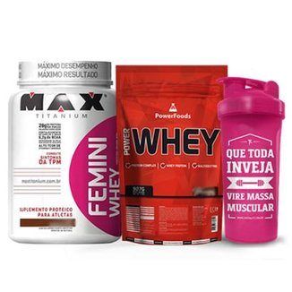 Kit Power Whey 900g PowerFoods + Femini Whey 900g Max Titanium + Coqueteleira Massa Muscular 700 ml