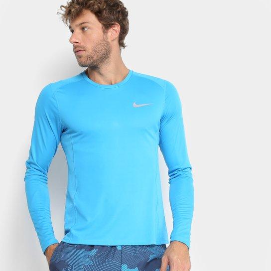 e1fc2be42 Camiseta Nike Dri-Fit Miler Manga Longa Masculina - Azul Claro ...