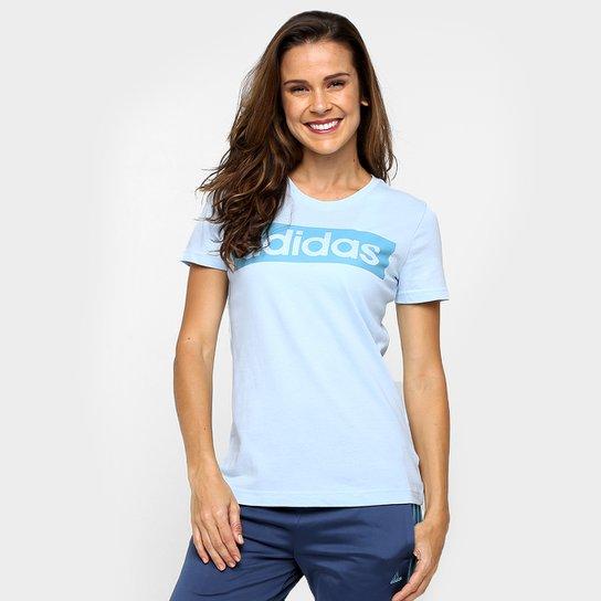 Camiseta Adidas Ess Linear Tee - Azul Claro+Azul 48c990aa68496