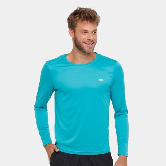 Camiseta Olympikus Essential Proteção UV 50+ Manga Longa Masculina - Azul  Piscina 5287022bf7b2a