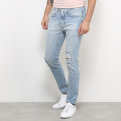 Calça Jeans Skinny Calvin Klein Delavê Destroyed Masculina