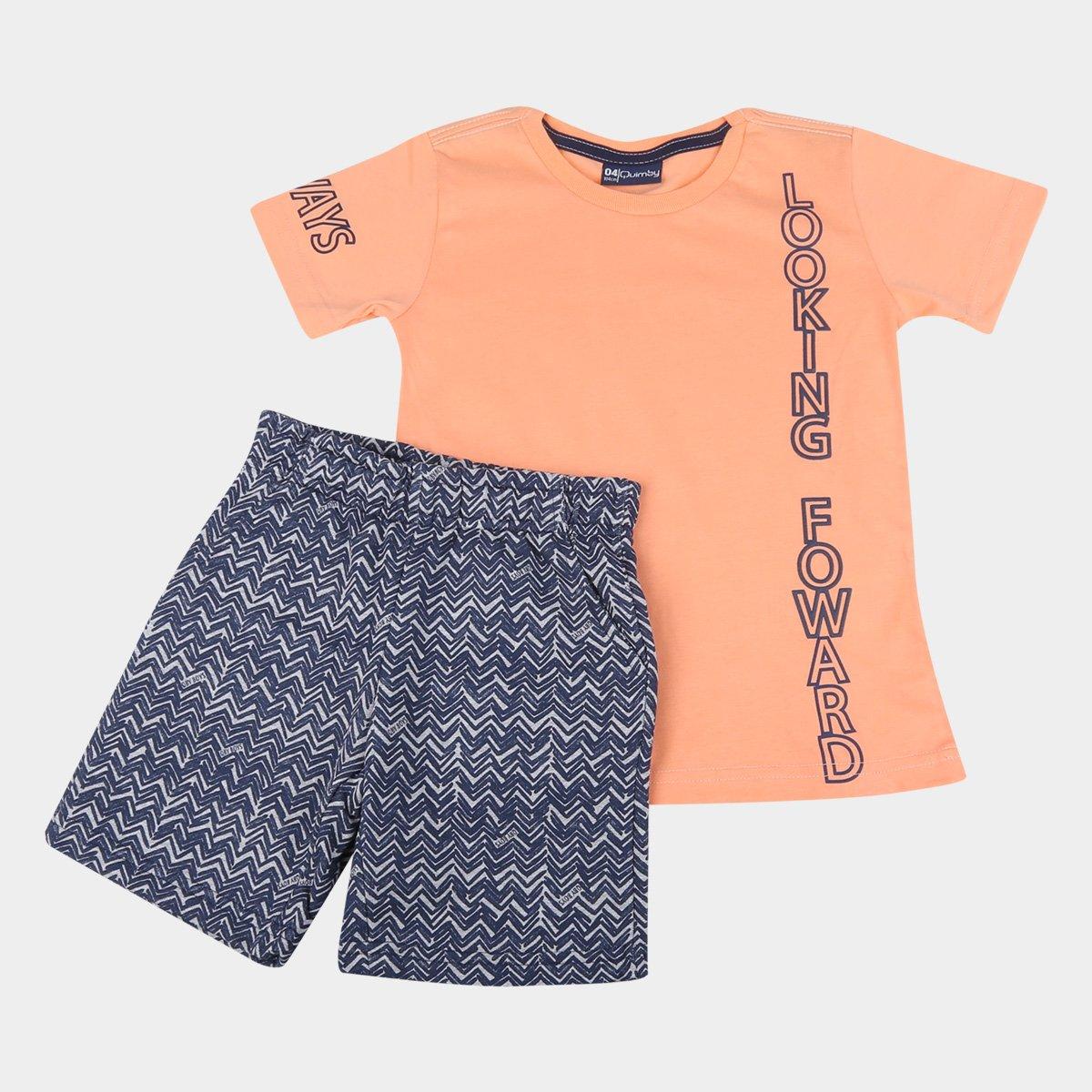 Conjunto Infantil Quimby Camiseta Neon E Bermuda Moletinho Masculino