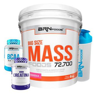Kit Big Size Mass 6kg + BCAA 2400 100 caps + Creatine 100g + Coqueteleira - BRNfoods