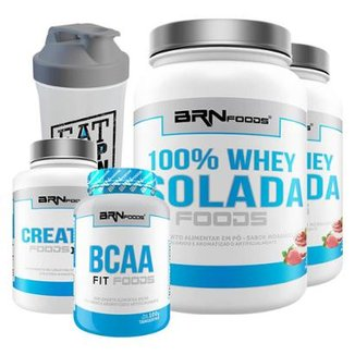 Kit 2x 100% Whey Isolada 900g + Bcaa 120Cap + Creatina 300g + Coqueteleira 600ml BRN FOODS
