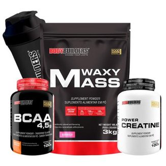 Kit Waxy Mass 3kg + BCAA 1800 120 caps + Creatine 100g + Coqueteleira Bodybuilders