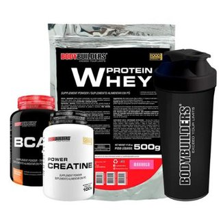 Kit Whey Protein 500g Morango + BCAA 800 120 Tabletes + 100% Creatine 100g