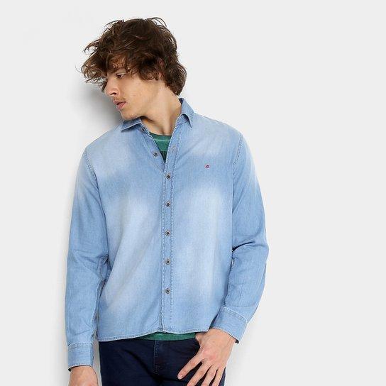 454181ab5ec33a Camisa Jeans Replay Manga Longa Masculina - Azul Claro | Netshoes