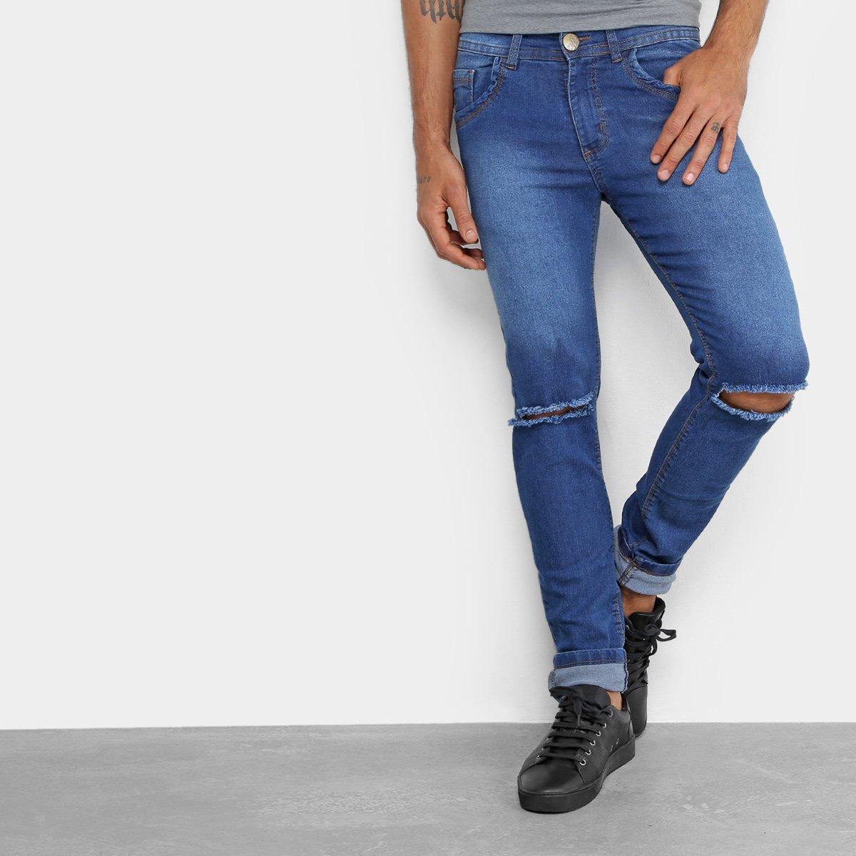 Calça Jeans Skinny Coffee Rasgada Masculina 2facc33655006