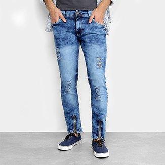 54183eb3c0 Calça Jeans Skinny Destroyed Coffee Masculina