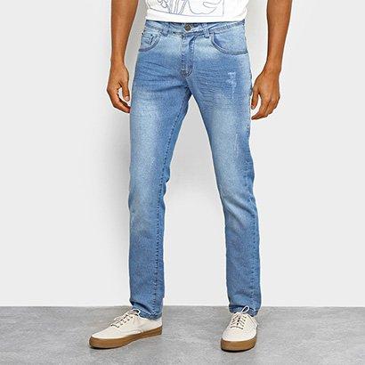 Calça Jeans Coffee Estonada Puídos Masculina
