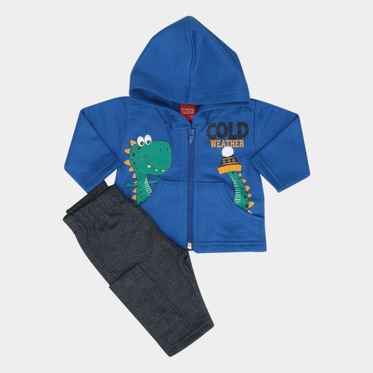 997ed26728320 Conjunto Infantil Kyly Jaqueta + Calça Estampado Masculino - Azul+Chumbo
