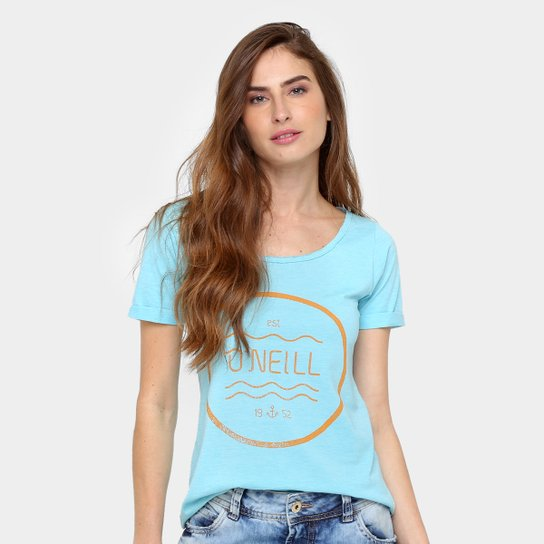 da7e0816651 Camiseta O Neill Feminina Estampada Script - Azul Claro. Loading.
