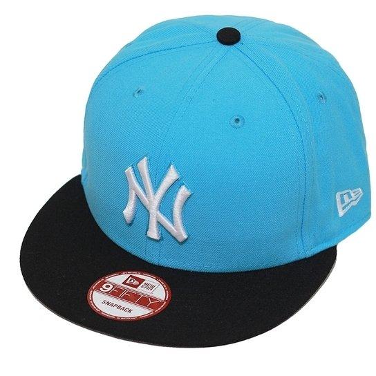 b908165dd4c0a Boné New Era Aba Reta Snapback Mlb Ny Yankees 2Ton - Azul Claro ...
