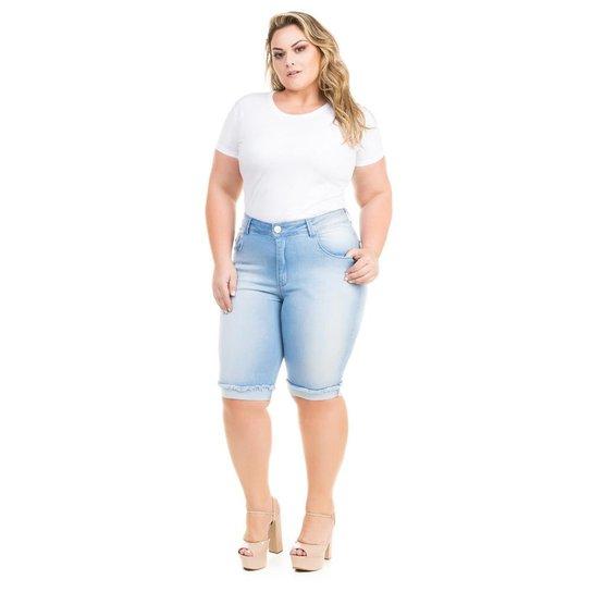 f8929136756cea Bermuda Confidencial Extra Plus Size Jeans com Elastano Feminino - Azul  Claro