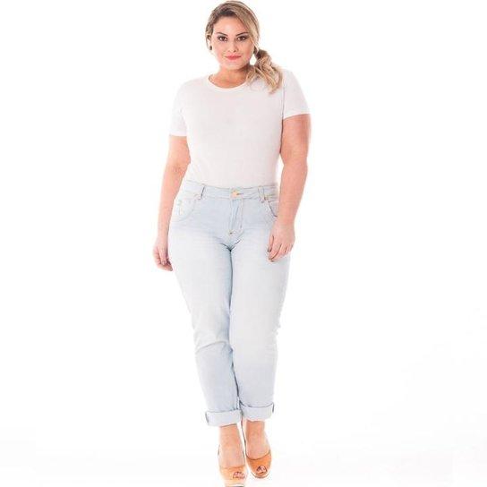f0e3b710c Calça Confidencial Extra Plus Size Cintura Alta Feminina - Azul Claro