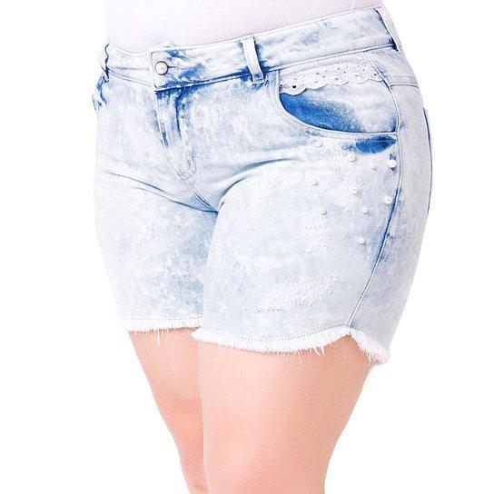 2b2ff94ae Shorts Confidencial Extra Plus Size Jeans Aplique Pérolas e Renda Feminino  - Azul Claro