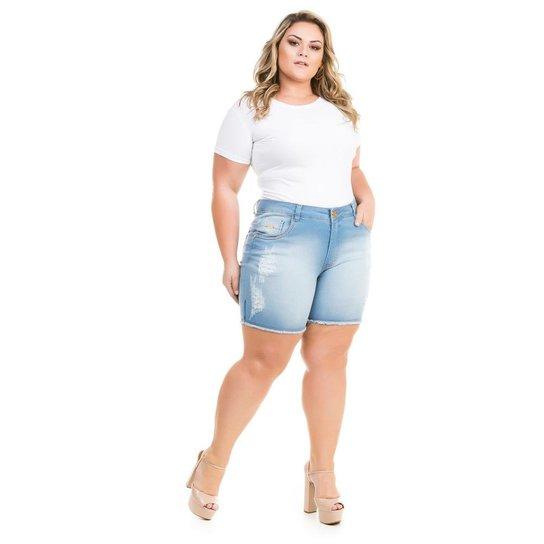 ff4ea1924 Shorts Confidencial Extra Plus Size Jeans com Elastano Feminino - Azul Claro