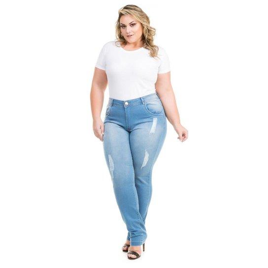 04a2047e5311e4 Calça Confidencial Extra Plus Size Cigarrete Jeans Porsche Feminina - Azul  Claro