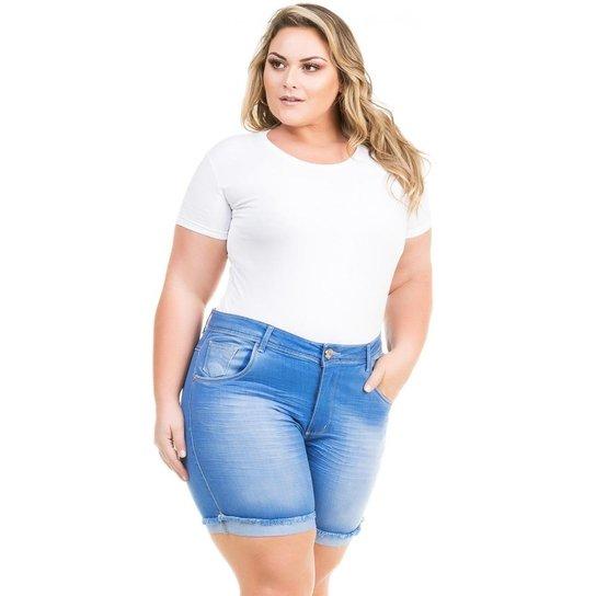 965afecf5 Shorts Confidencial Extra Plus Size Jeans Cintura Alta Feminino - Azul Claro