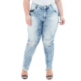 65f65d30f Calça Jeans Confidencial Extra Plus Size Cropped Destroyed Feminina