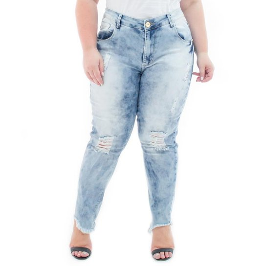 b0f96eb3f Calça Jeans Confidencial Extra Plus Size Cropped Destroyed Feminina - Azul  Claro